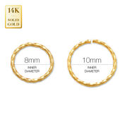 14k Real Solid Gold Twisted Continuous Septum Body Hoop Ring Nose Cartilage 20g