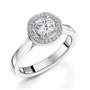 0.72 Ct Real Diamond Solitaire Rings 14k Solid White Gold Rings Size 5.5 6.5 7 8