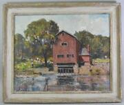 Original Oil On Canvas Indian Mill Scene Upper Sandusky Oh By Earl North