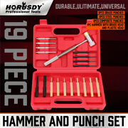 19pc Hammer And Punch Set Brass Steel Plastic Punches Gunsmithing Maintenance Case