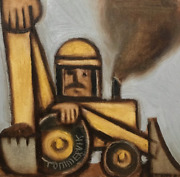 Bulldozer Art Construction Worker Big Truck Painting Tractor Art Oil Painting