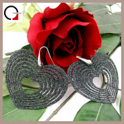 Silver Earrings 925 Womenand039s Heart Hanging Long With Rhinestone Black