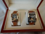 Box 2 Watches Man And Woman Automatic Heart Open New 2e Tapered Schedule
