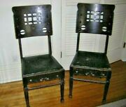 Antique Furniture Pair Of Wood Dining Room Chairs