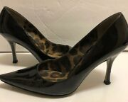 Authentic Dolce And Gabbana Patent Black Leather Steel Stiletto Pumps Italy 38.5