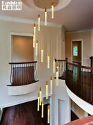 Remote Dimmable Duplex Staircase Chandelier Led Crystal Pendant Lamp Lighting