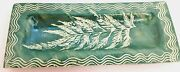 Warwick Pottery Cracker Cheese Serving Tray Etched Leaf Design Green White 13