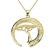 Japanese Buddhist Zen Circle With Bonsai Tree Pendant/necklace In Gold