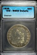 1826 - Icg Ms60 Details Cleaned Capped Bust Half Dollar Hd0217