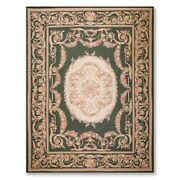 9andrsquo X 12andrsquo2 Asmara Hand Woven 100 Wool French Needlepoint Area Rug Green