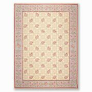 9 X 12and039 Asmara Hand Woven Floral Trellis Wool French Needlepoint Area Rug Beige