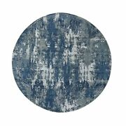 8and0391x8and0391 Blue Abstract Design Wool And Pure Silk Hand Knotted Round Rug G48497