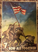 Original Wwii 1945 Now All Together Iwo Jima Flag Raising 7th War Loan Poster 28