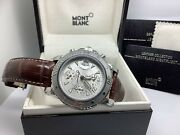 7034 Stainless Steel 42mm Chronograph Watch W/brown Leather Band