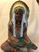 Chalkware Chalk Ware Sitting Indian Chief Peace Pipe Bear Claw Necklace