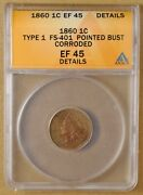 1860 Type 1 Indian Head Penny Fs-401 Anacs Ef 45 Details