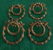 4 Large 3 1/2 Very Nice Antique Fancy Cast Brass Ring Pulls Drawer Pull N51
