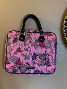 Betsey Johnson Pink Roses Cats And Bling Laptop Bag