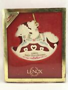 Lenox Usa 1999 Baby's First 1st Christmas Tree Holiday Ornament Rocking Horse