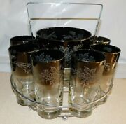 Vintage 8 Silver Fade Rim Etched Glass Tumblers And Ice Bowl In Chrome Holder