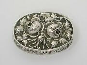 2 3/8 In - European Silver Antique German Two Roses Oval Snuff/pill Box