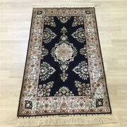 Yilong 2.5and039x4and039 Handwoven Silk Carpet Furniture Floral Porch Rug Y175a