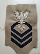 Vintage Us Navy Chief Ic-cpo Interior Comm Elect Rating Patch Twill Bullion Nos