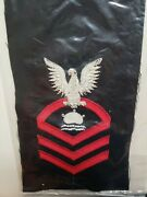 Vintage Us Navy Chief Mn-cpo Mineman Rating Patch Wool Bullion Nos