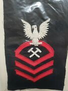Vintage Us Navy Chief M-cpo Metalsmith Rating Patch Wool Bullion Nos Obsolete