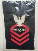 Vintage Us Navy Chief Am-cpo Aviation Metalsmith Rating Patch Wool Bullion Nos
