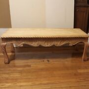 Antique Hand Carved Wood Coffee Table Roped Edges And Ball And Claw Legs