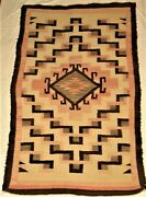 Vintage Navajo Ganado/gallup Wool Throw Rug Crystal Pattern 3and039 X 5and039 1930and039s