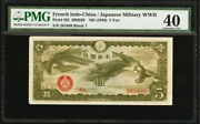 French Indochina / Japanese Military Issued 1940 5 Yen Pick M3. Pmg 40