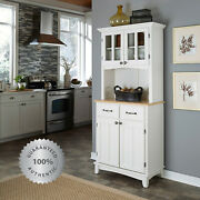 Kitchen Buffet Hutch Solid Wood White Server Storage Cabinet Drawers Natural Top