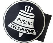Bell Telephone Flange Sign Public Phone Booth Metal Industrial Advertising Vtg