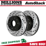 Front Drilled Slotted Disc Brake Rotors Pair 2 For Chevy Impala Cadillac Dts V8