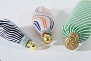 Antique Striped Glass Small Perfume Bottle Lot