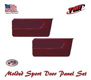 1964 - 66 Mustang Molded Sport Door Panel Set - Dk Red - Made By Tmi In The Usa