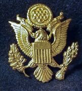 Wwii Brass Eagle Us Army Pin Military Emblem Hat Lapel Screw Back Vintage