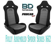 Procar Seats 80-1612-76 Spider Series 1612 Common Black And Grey Velour Pair