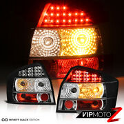 For 02-05 Audi A4 S4 4dr Sedan Lh Rh Pair Led Tail Light Black Rear Brake Lamp
