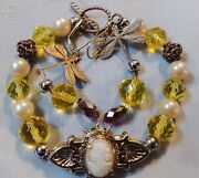 Victorian Carved Shell Cameo Broach, Cameo, Crystal, Pearl Bracelet And Earrings