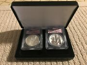 2001 Wtc American Silver Eagle And 2011 9/11 10th Anniversary Silver Medal Set
