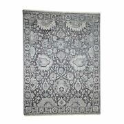 7and03910x10and0394 Handknotted Oushak Influence Silk With Oxidized Wool Rug G40860