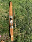 Thompson Vintage Water Skis Pro Comb Model Cm 691 Wood Mahogany And Ash