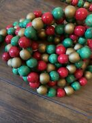 2 Strands 108 Each Red Green Gold Wood Bead Garland Christmas Mid Century