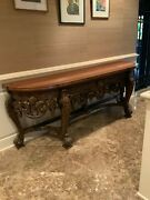 Maitland Smith Vintage Leather Top Hand Carved Rococo Console/sideboard