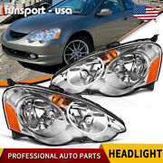 For 2002-2004 Acura Rsx Dc5 Headlights Assembly Pair Replacement Headlamp Chrome