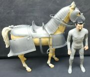 Vintage 1960and039s Marx Valor Sir Stuart Noble Knight W/ Horse Come Silver Armor