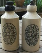 Tann's Reliance Safe Plaque Logo Copy On 2 New Zealand Stone Ginger Beer Bottles